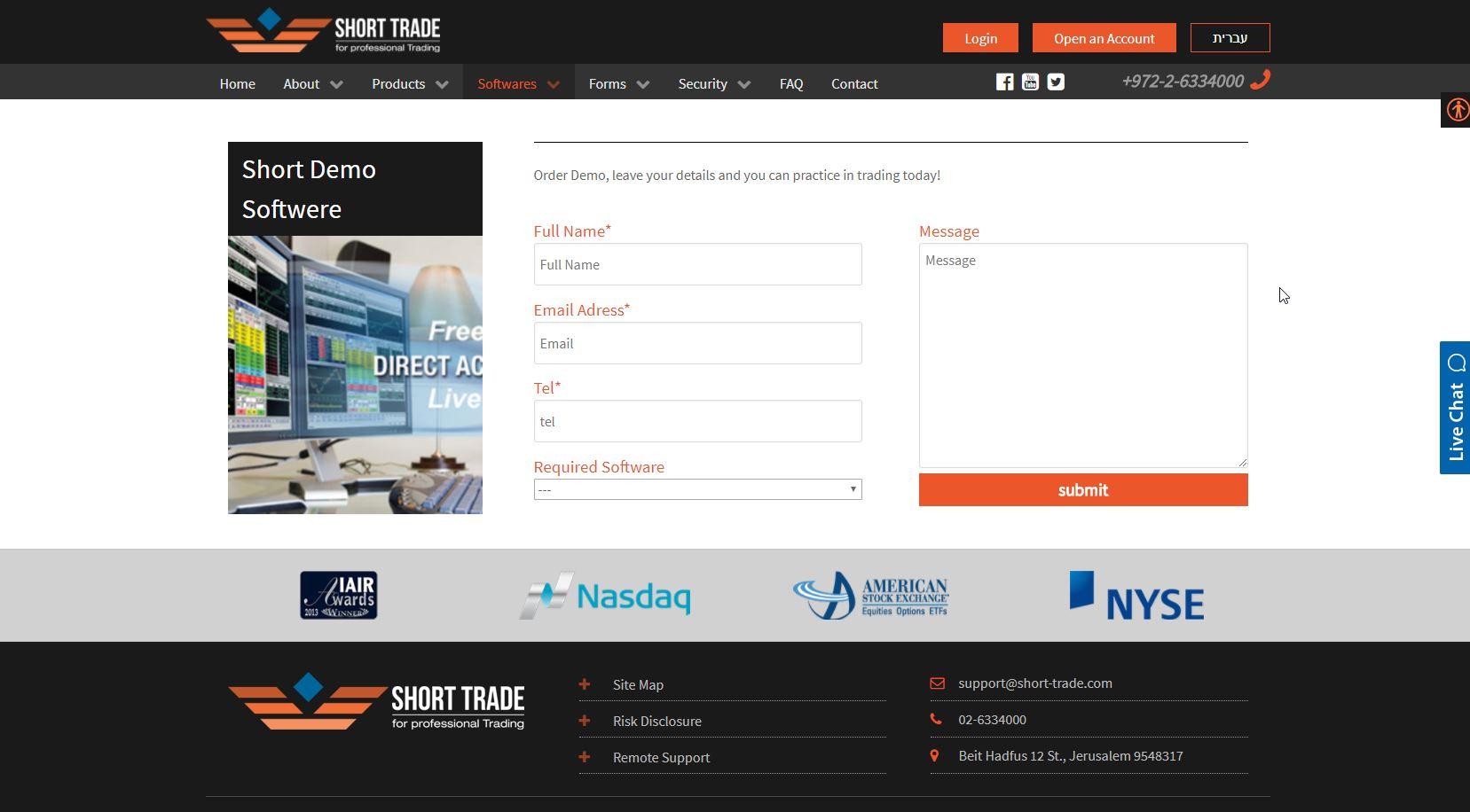 בניית אתר - Short Trade